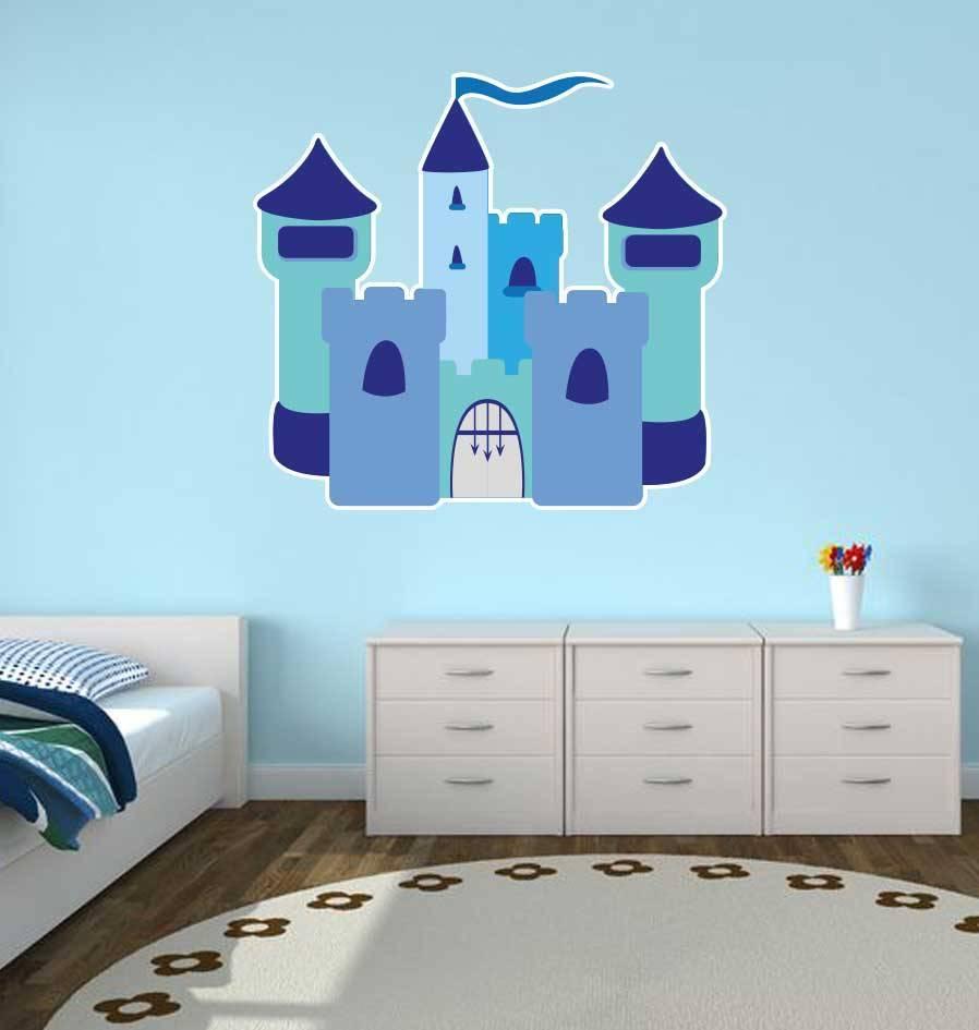 Autocollant chambre d\'enfants - Château bleu - Dr.Sticker