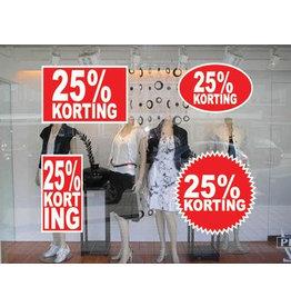 Lot d'autocollants 25% korting  (4 autocollants)