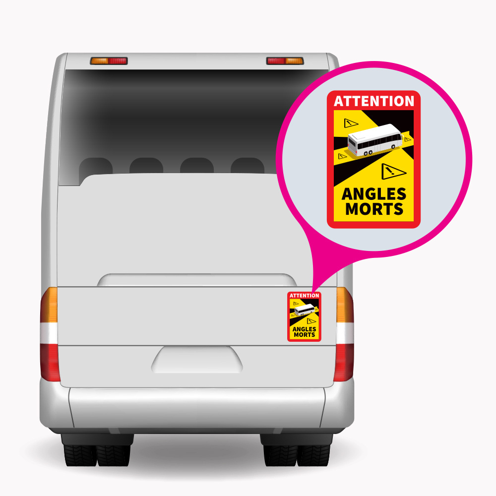 Blind spot - Autocollant Attention Angles Morts Bus (17 x 25 cm) (Prix = TVA incl.)
