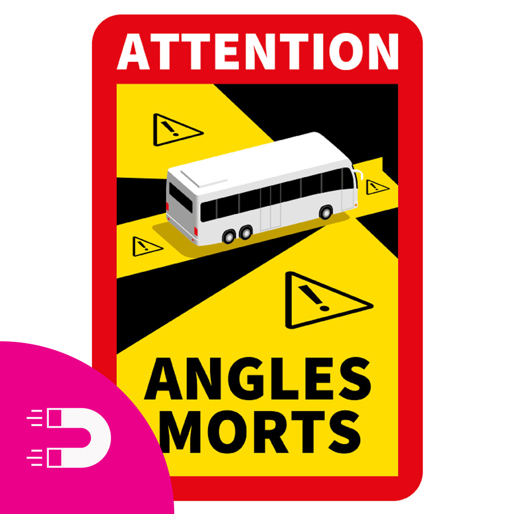 Plaque magnétique Angle mort - Attention Angles Morts Bus (17 x 25 cm) (Prix = TVA incl.)